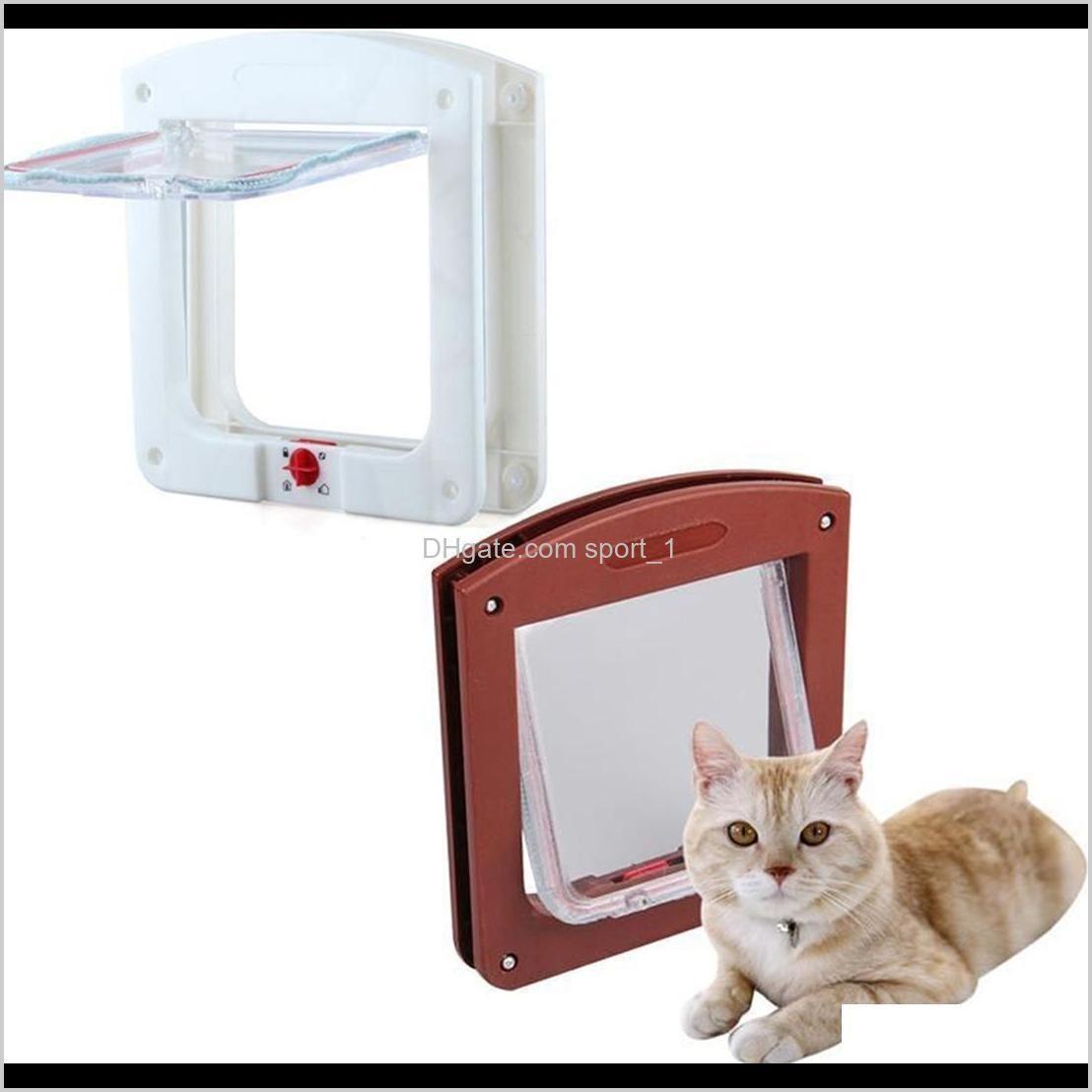 CarriersCrates Casas Durable Plástico 4 Way Bloqueo Magnético Pet Cat Door Pequeño Perro Gatito Impermeable Folleto Folleto Puerta Seguridad Suministros de Seguridad 2 UPXJK