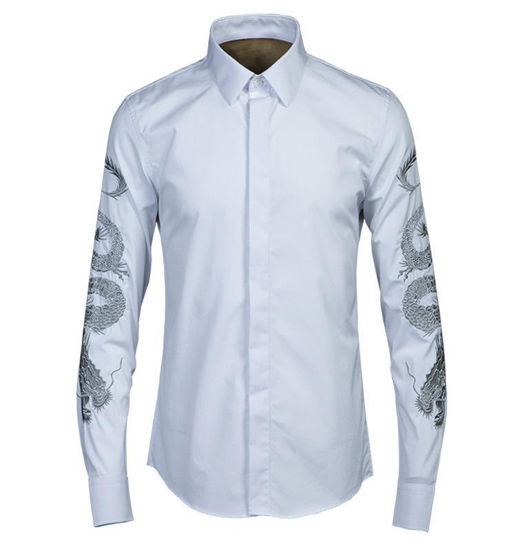 클래식 남성 셔츠 럭셔리 독특한 골드 드래곤 디자인 망 셔츠 패션 자수 긴 소매 캐주얼 슬림 맞는 남자 4XL 남자