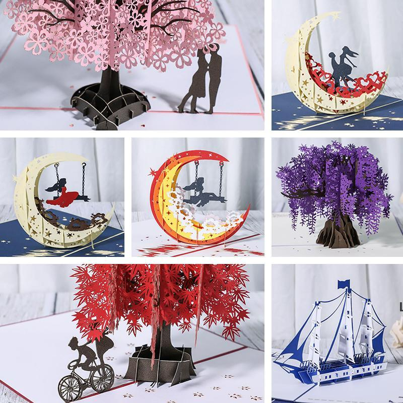 3D Anniversary Card/Pop Up Card Red Maple Handmade Gifts Couple Thinking of You Card Wedding Party Love Valentines Day Greeting DHD6225
