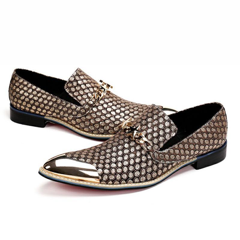 İngiliz Erkekler Glitter Altın Metal Toe Balık Desen Deri Ayakkabı Yıldız Zincirleri Gelinlik Yüksek Kalite Erkek