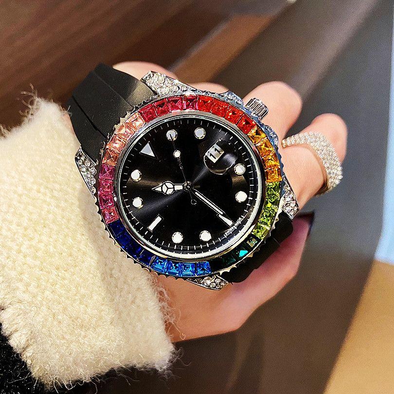 2021 Designer Uhren Regenbogen Ring Diamant Fünf Farbe Herren Womens Armbanduhren Quarz Bewegung Männer Uhr