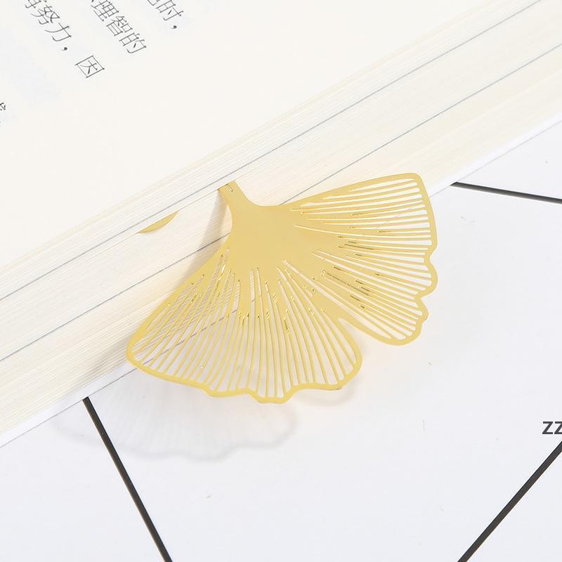 Neue Hochzeit Gold Lesezeichen Feder Olive Ginkgo Metall Absatz Kreative Lesezeichen HWD7494
