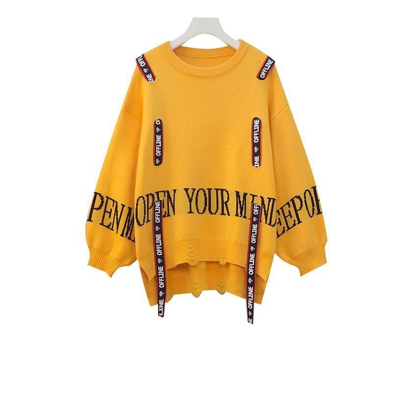 Kadın Kazak Kış Mektuplar Baskılı Kazaklar Gevşek Kazak O-Boyun Delik Streetwear Kore Ropa Mujer Jumper Sweter
