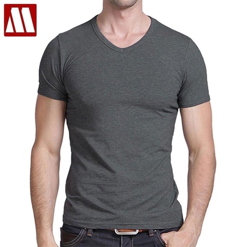 티셔츠 남성 캐주얼 짧은 소매 V 넥 티셔츠 솔리드 여름 코튼 블랙 / 그레이 / 그레이 / 그린 mydbsh 210409