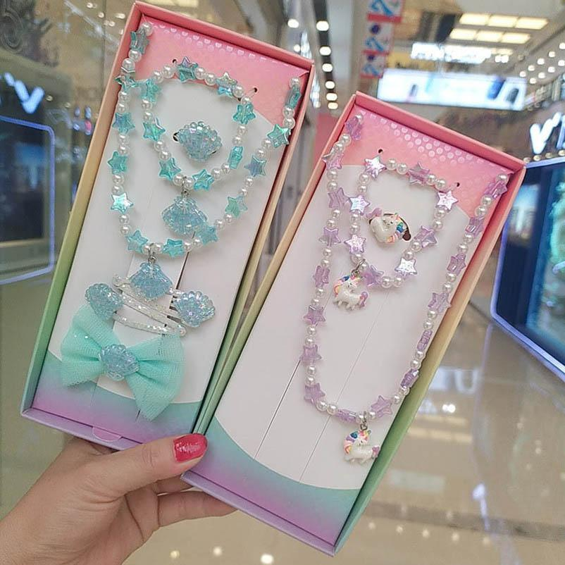 Girls Necklaces Pendants Jewelry Kids Accessories Fashion Princess Unicorn Mermaid Suits Bracelet Rings 3Pcs/Sets Birthday B4802