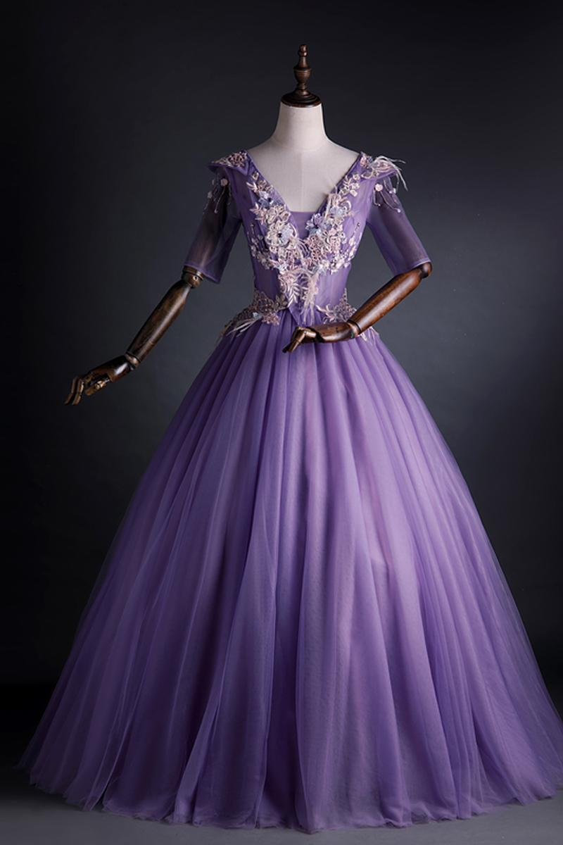 real lavenderembroidery court half sleeve long dress beading medieval Renaissance Victoria dress gown/EVENT