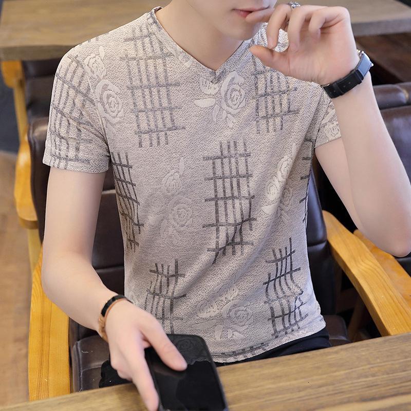 Camiseta corta de seda de hielo de verano 2021 Marca de marea Cuello redondo Cuello redondo Moda Moda Moda Slim Ropa de ajuste