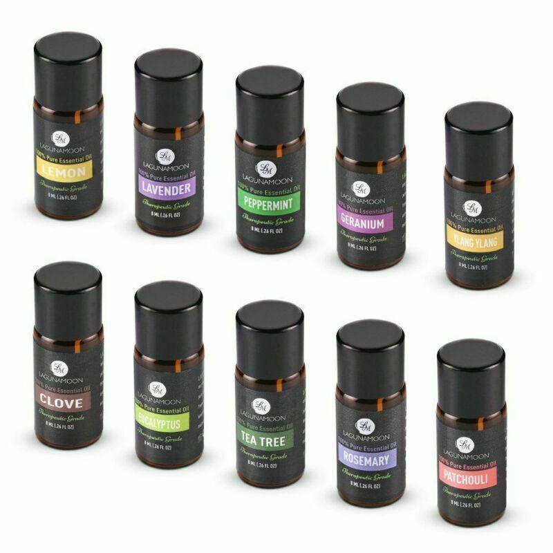 10 pcs definido Lagunamoon Pure Premium Óleos Essential Gift Set Aromaterapia Fragrância Óleos