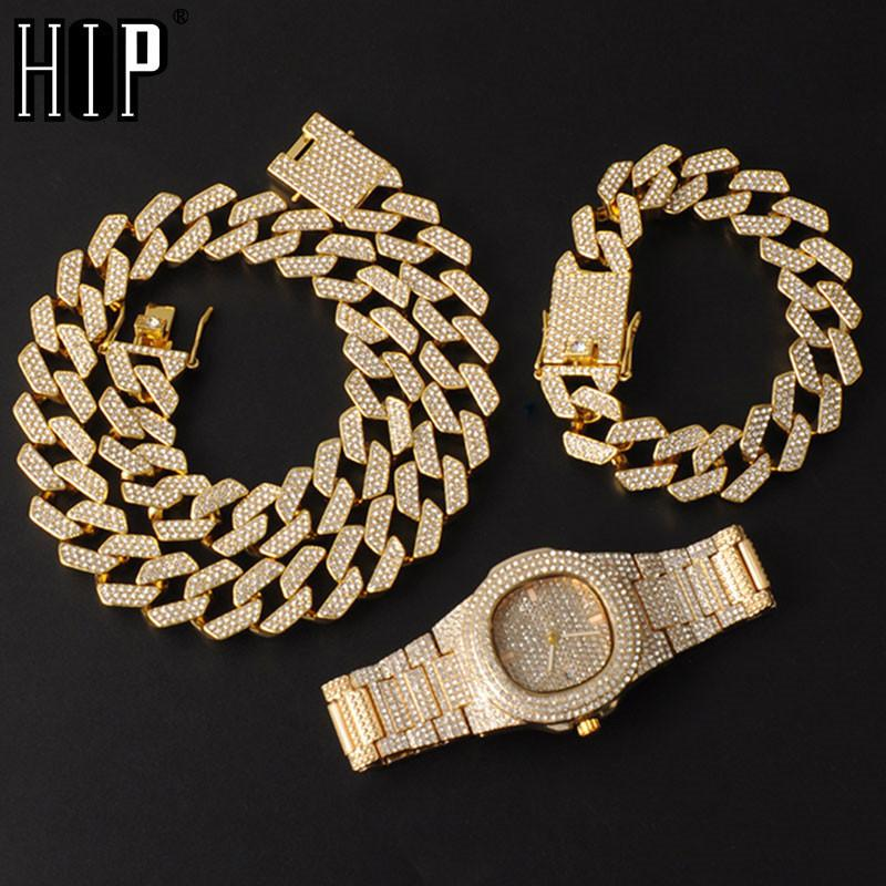 Hip Hop 20MM 3PCS KIT Watch+Necklace+Bracelet Bling AAA+ Iced Out Alloy Rhinestones Prong Cuban Link Chains For Men Jewelry
