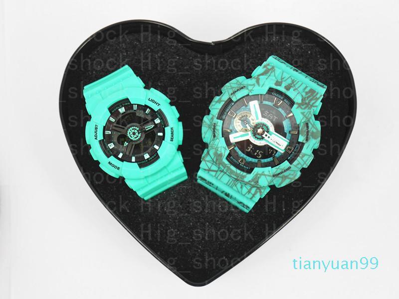 Brand new casal relógio presente bebê top qualidade todas as funções resistentes a água g relógio esportivo com caixa de coração para amante para a família