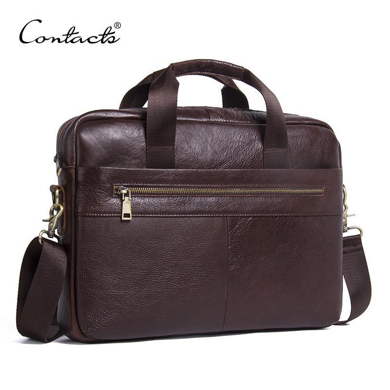 HBP Contate's Genuine Leather Business Masculino Laptop Tote QuartoCases Homens Crossbody Bags Bolsa de Ombro Messenger Bag q0112