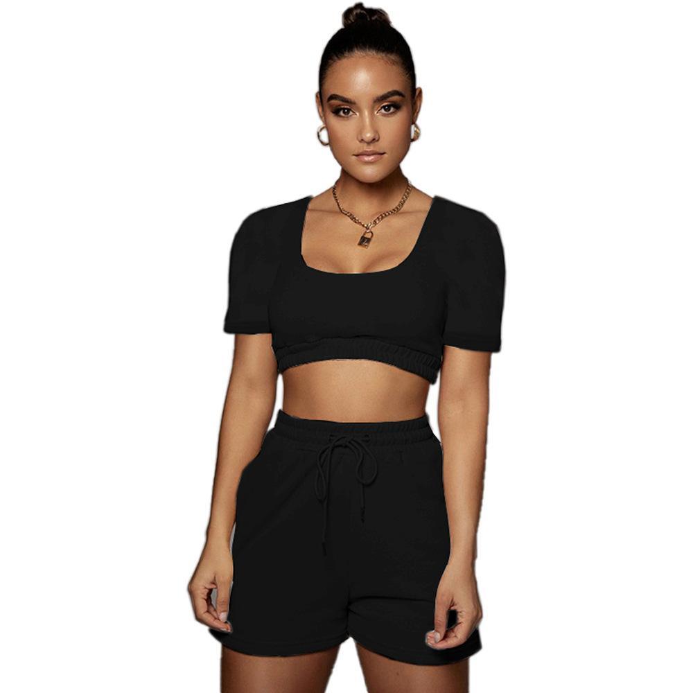 Sexy Frauen Trainingsanzug Solid Color Kurzarm Hemd + Kurze Hosen Sportanzug Sommer Kleidung für Womne Outfit 210506