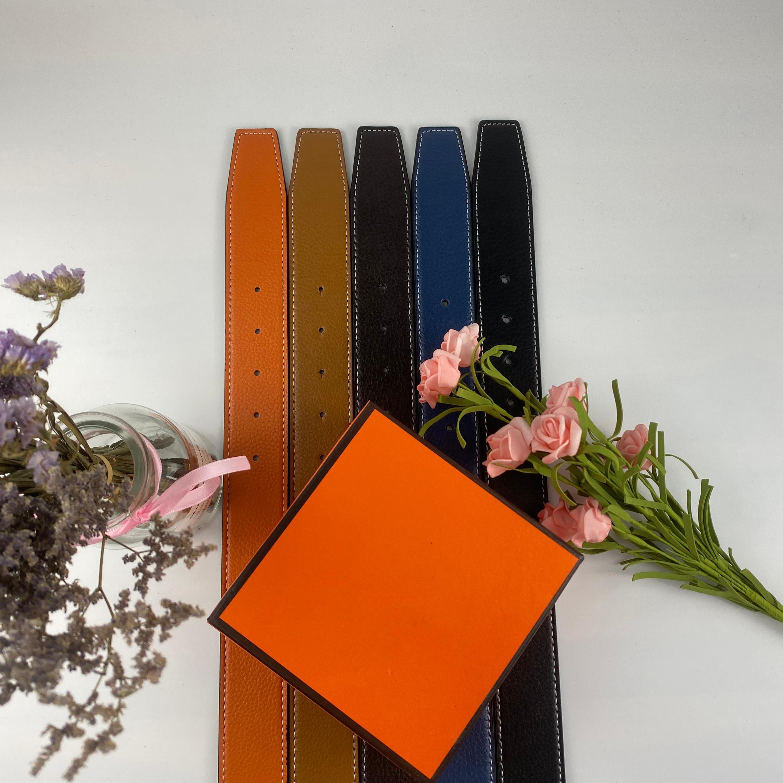 2021 패션 캐주얼 디자이너 벨트 도매 5 색 가죽 망 벨트 여성을위한 금속 Hbuckle 크기 폭 3.8cm 상자