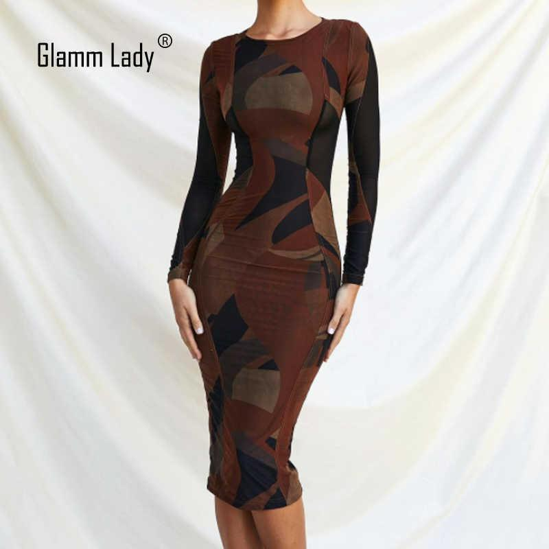 Glamm Lady Print Langarm Frauen Kleid Elegante Patchwork Bodycon Party Kleid Sommer Midi Sexy Club Robe Fashion 210603
