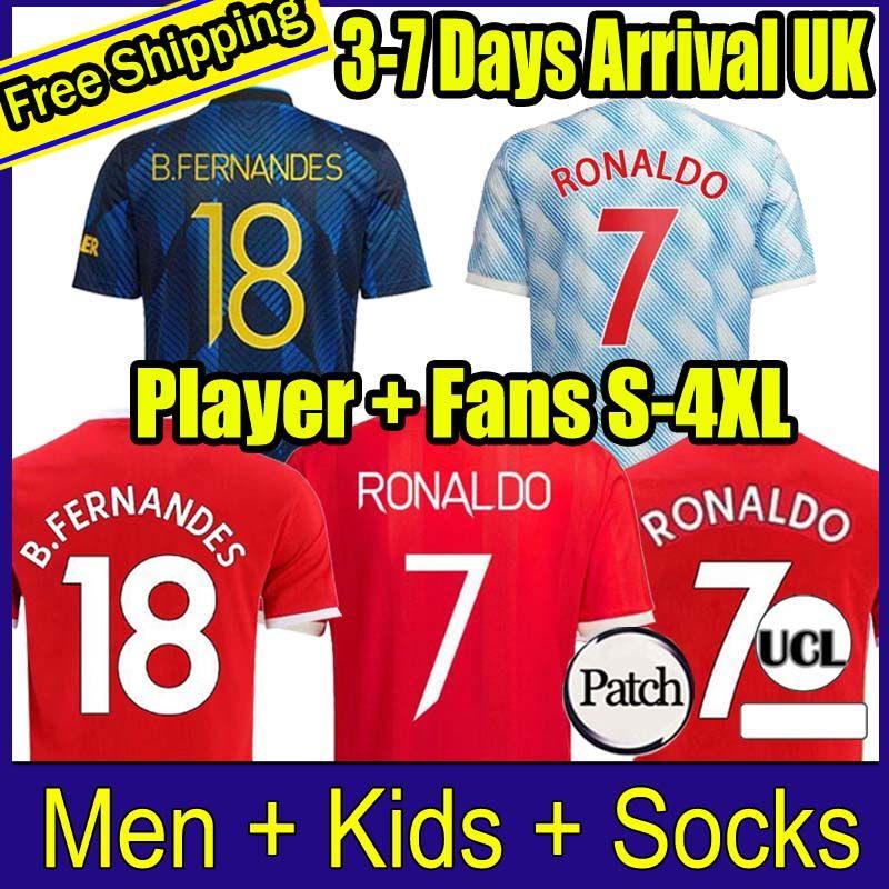21 22 Sancho Ronaldo Футбол Футбол Вентиляторы Игрок Версия Bruno Fernandes Pogba Rashford Футбольная футболка 2021 2022 Человек Дети Женщины Длинные Рукав