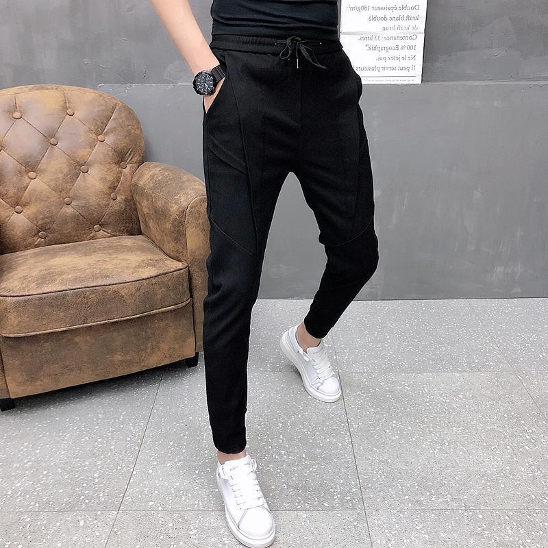 Moda coreana sólida corredores homens de alta qualidade primavera calças outono magro fita cordão mens casual preto / cinza 36-28 homens