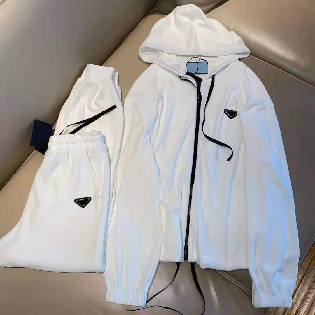 Женщины Hoodie Suit Couscuits из двух частей платье толстовки и брюки для леди модные варианты одежды Терри свитер наборы с кнопкой буквы молнии топы куртки