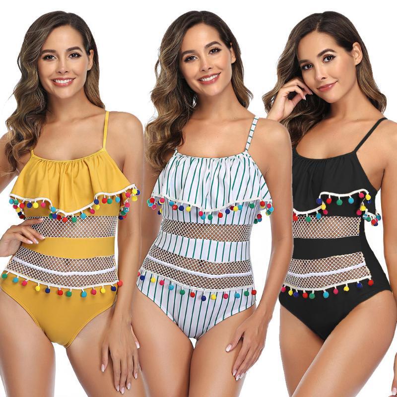 BHs Sets 2021 Sexy Damen Badenkostüm Gepolsterte Monokini Push Up Strampler Jumpsuit Rüsche Floral Gedruckt Unterwäsche Weibliche Intimates