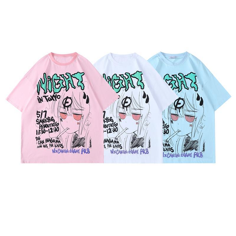 Printemps été été europe europe de dessin animé glaffiti golf imprimer t-shirt t-shirt hommes femmes surdimensionnant rue décontractée t-shirt