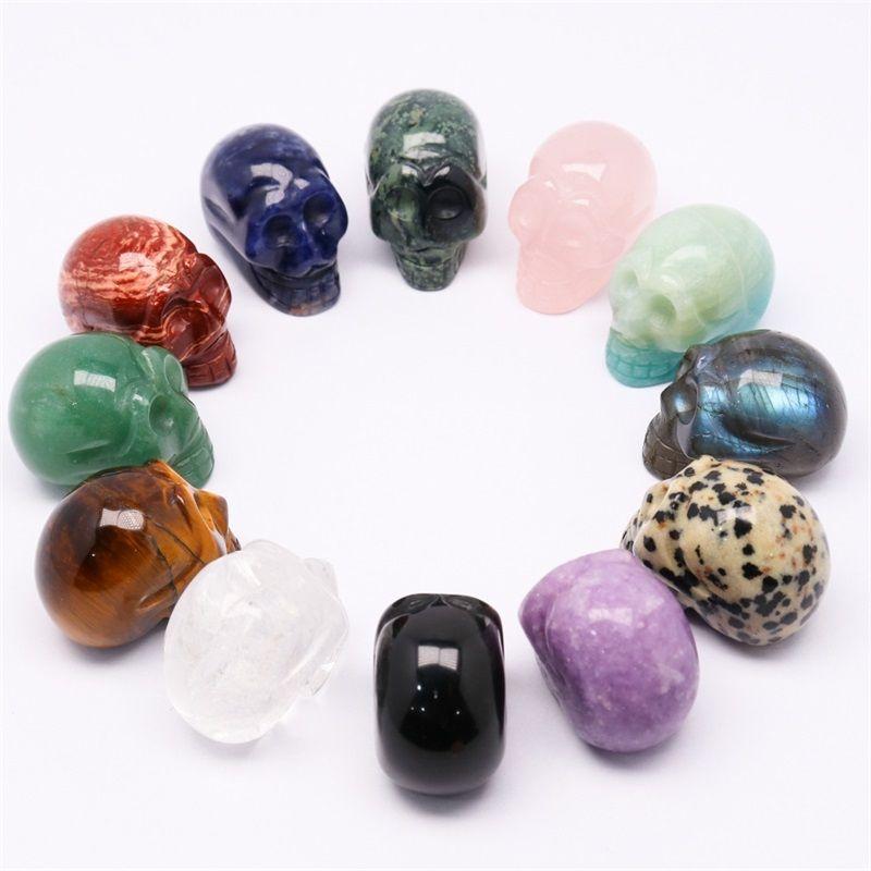 Abay 1PC натуральный кристалл кварцевые минеральные ювелирные изделия розовый кварцевый череп кристалл резьбы украшения дома хеллоуин и DIY DEC JLLNMC 898 Q2