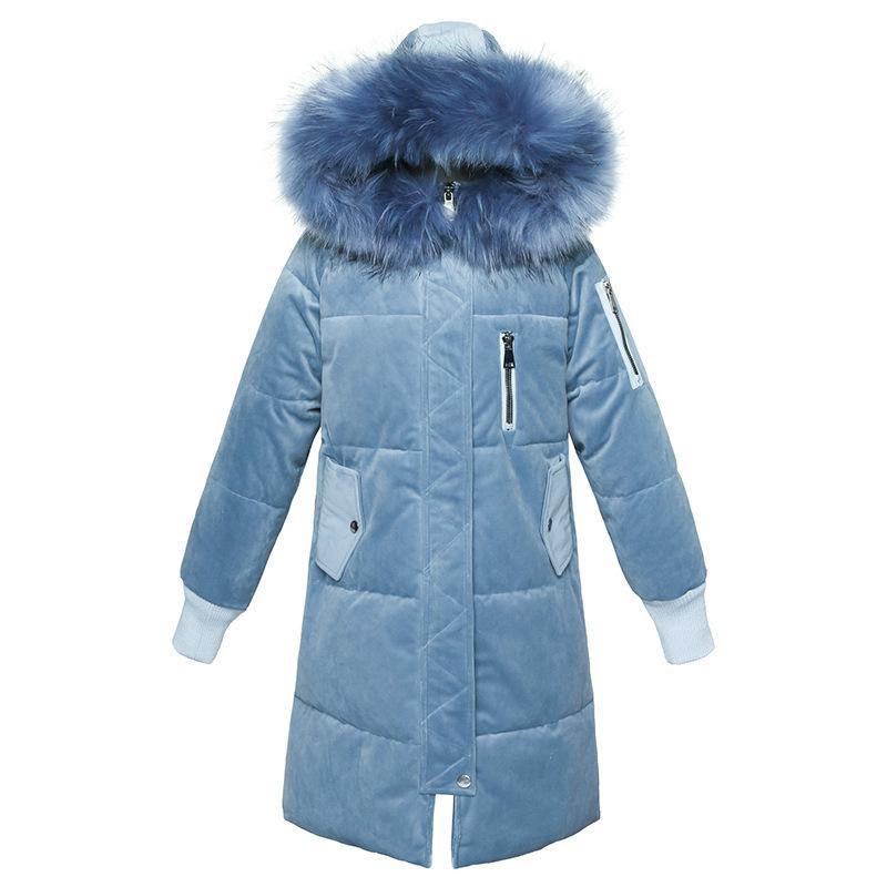 Manteau d'hiver Manteau de Velours d'or Mid -n-Longueur des femmes, Nouveau Coréen Style Grand Taille Grande Veste matelassée à capuche à capuche de grande taille