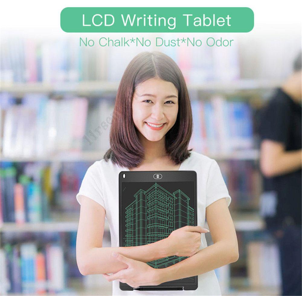 Niños 12 pulgadas de tamaño pequeño Dibujo inteligente Tableros de escritura Tableta LCD Tablilla digital Doodle Tablero de Doodle LED Juguetes para niños Memos adultos Pad con gráficos de pluma mejorados