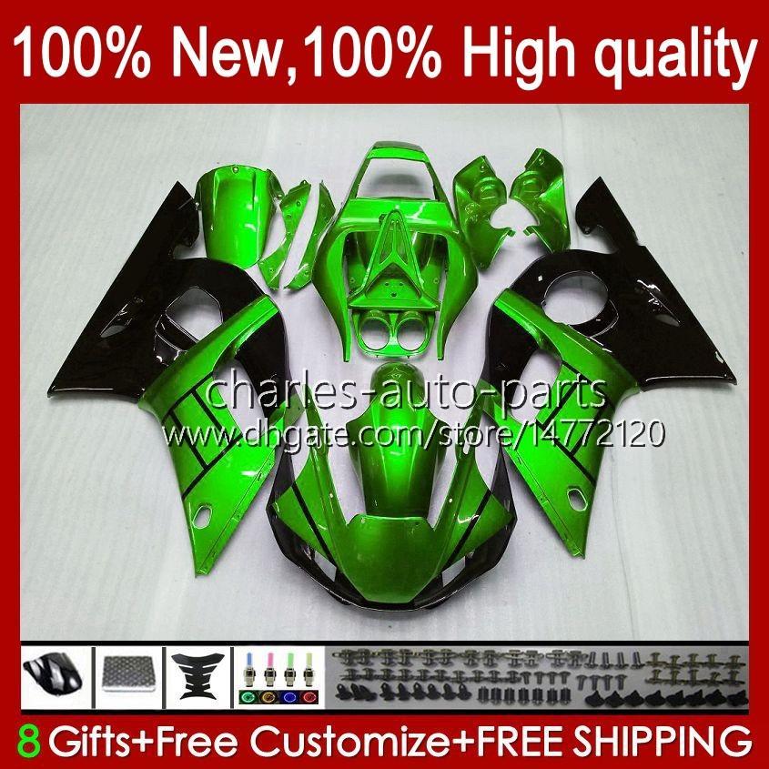 Yamaha Yzf-600 Yzf R6 R 6 600CC Yzfr6 1998 1999 00 01 02 Bodywork 1No.112 YZF 600 CC Cowling YZF-R6 98-02 YZF600 98 99 2000 2001 2002 ABS 페어링 키트 녹색 광택