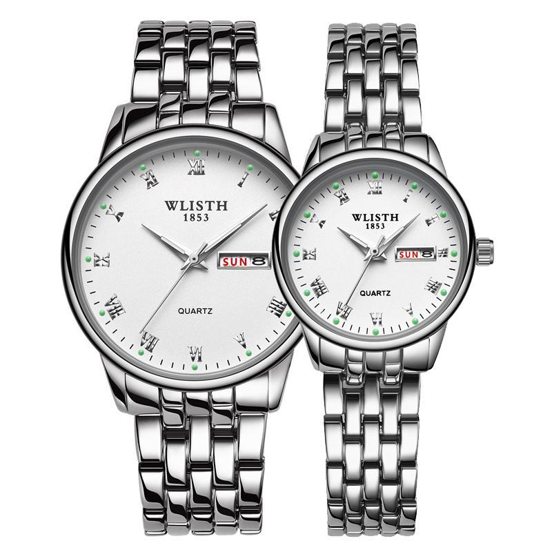 Relogio Masculino 1 Çift Kuvars Saatı Severler Için İzle Tarihi Hafta Aydınlık Moda Çift Saatler Erkekler Kadınlar
