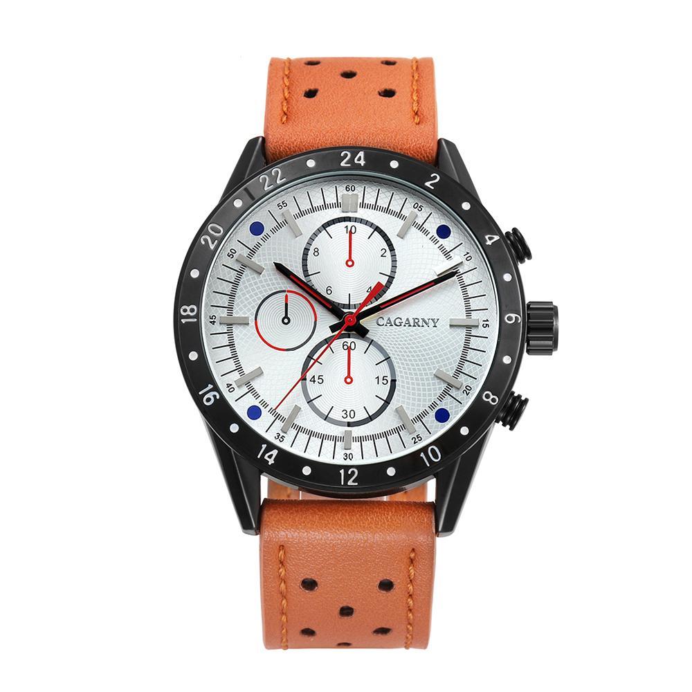 Cagarny Erkek Ordu Saatler Deri Kayış Kuvars Analog Spor Bilek İzle Erkekler için Casual Saat Erkek Büyük Kılıf Relogio Masculino