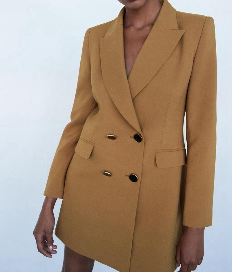 여성 솔리드 롱 블레이저 코트 빈티지 더블 브레스트 슬리브 2021 패션 여성 겉옷 세련된 탑스 여성 트렌치 코트