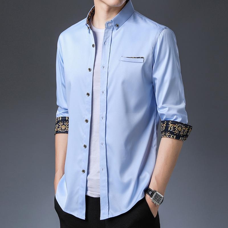 밝은 파란색 실크 빈티지 럭셔리 디자이너 옷 망 결혼식 파티 신사 드레스 셔츠 인쇄 된 버튼 공식 블라우스 남자의 casua