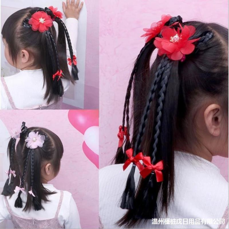 Twist Treccia Parrucca per bambini Principessa per bambini Ponytail Headdress Baby Torkpin Flower Bow Clip