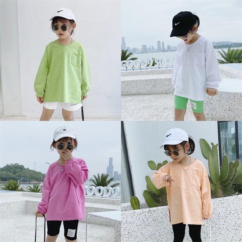 Cong Xiaomei 2021 Spring New Wear Girls' Casual V-neck Bottom Shirt Children's Simple Slubby Cotton Long Sleeve T-shirt