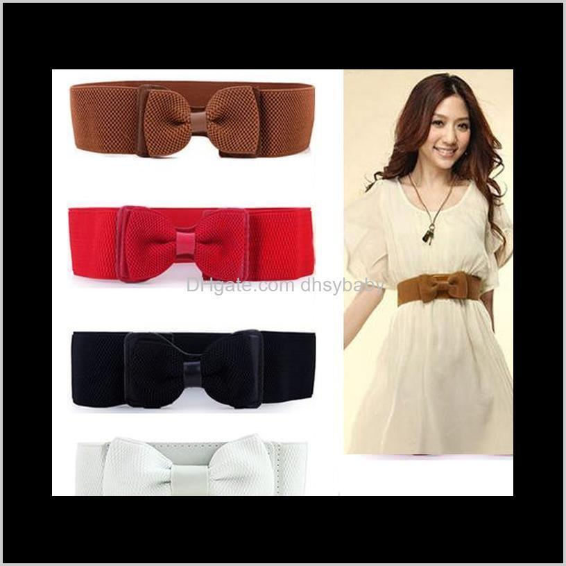 Cinturones de moda Mujeres Lady Wide Elastic Elástico Bowknot Bow Tie Cinturón Cinturón de color sólido Cintura de colores para vestidos Regalo de ropa PPONO IVGFS