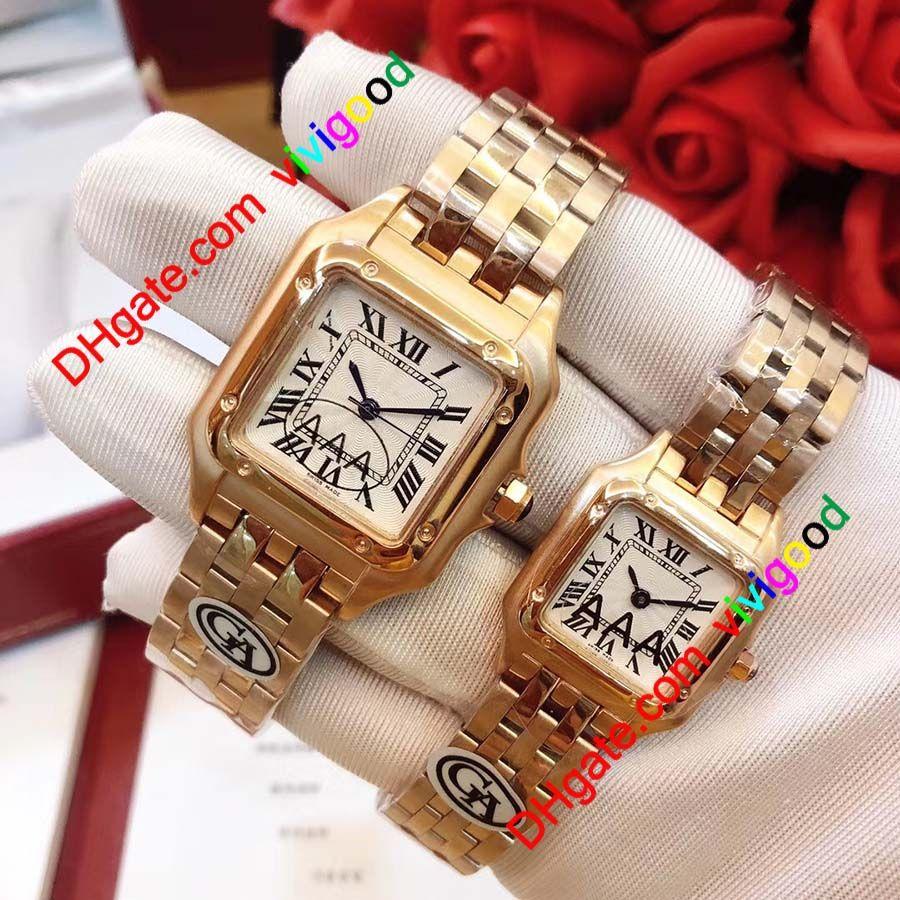 2020 Топ-класс Новая Мода Женщина Квадратные Золотые Часы Случайные Леди Кварцевые Panthere de G Заводские Часы 316L Группа из нержавеющей стали Montres Reloj