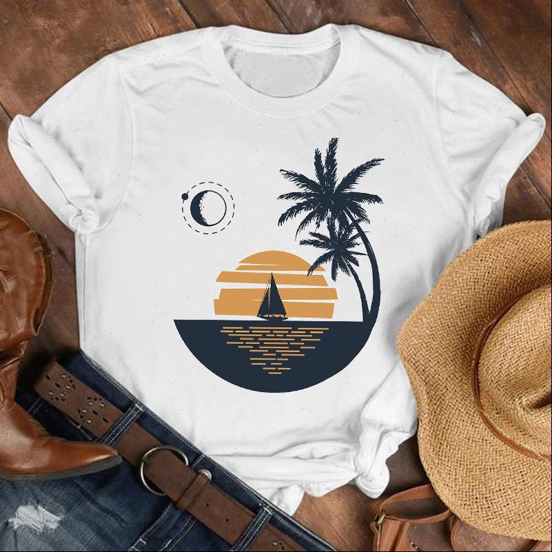 Frauen Dame Beach Tops Sunset Camper Geometrische 90er Jahre Mode Hemd Kleidung Damen Top Weibliche Druck T T-Shirt Graphic