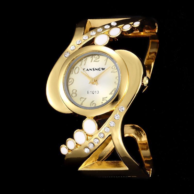 Wristwatches Design Ladies Silver Cuff Bangle Wristwatch Shiny Crystal Women Dress Analog Quartz Watches