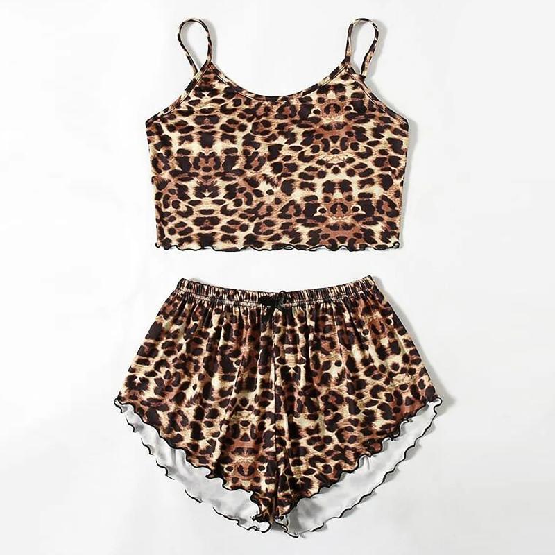 BHs Sets Nachtwäsche Frauen Pyjama Mode Drucken Wear Lounge Home Sleep Set Camisole Tops + Hosen Pijama Mujer Nuisette Femme