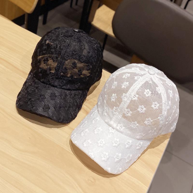 Nuevo sombrero Coreano Verano Flor Flor Béisbol Cap Moda Versátil Mostrar Temperamento Sol Sombreado Hollow