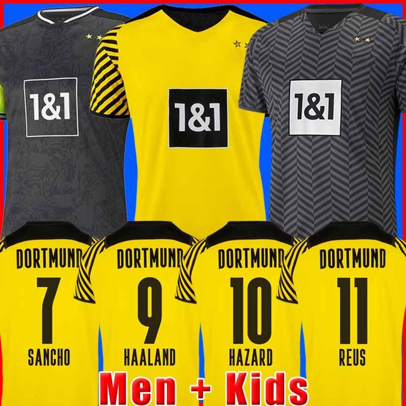 dortmund Borussia HAALAND REUS 21 22 camisa de futebol 2021 2022 camisa de futebol BELLINGHAM SANCHO HUMMELS BRANDT homens + crianças kit uniformes quarto 4º