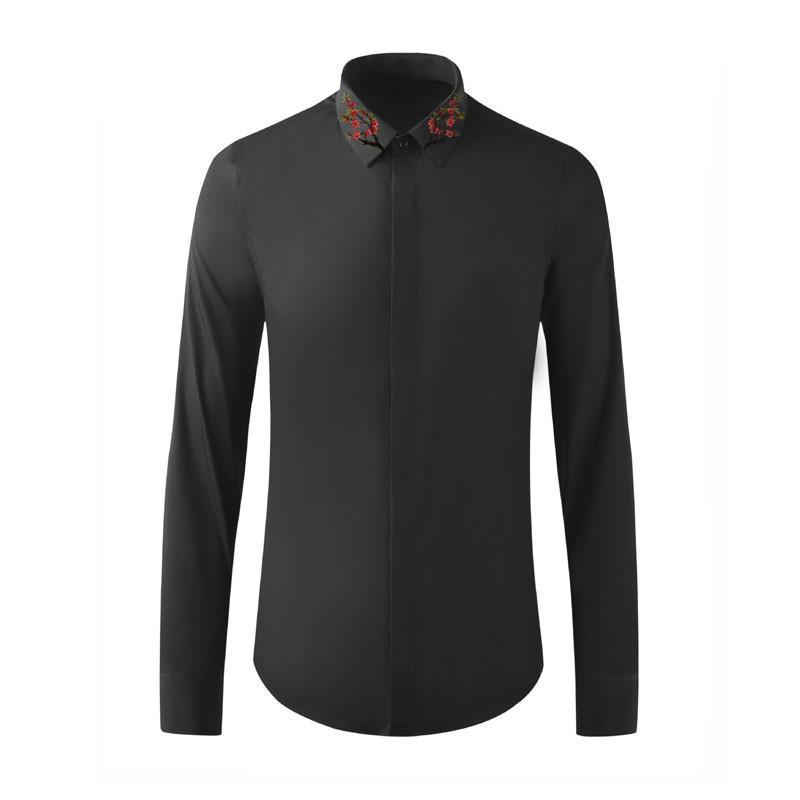 도착 코튼 고품질 Belen 작은 넥 밴드 스타일 패션 인쇄 남성 긴 소매 캐주얼 셔츠 플러스 크기 M-2XL3XL4XL 남자