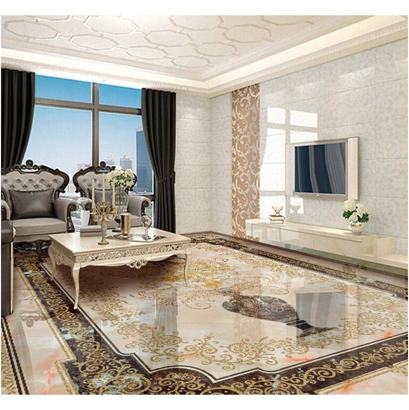 Wallpapers Décor Home & Garden Drop Delivery 2021 Custom Self-Adhesive 3D Wallpaper Mural Classic European Style Vase Marble Floor Tile Wall