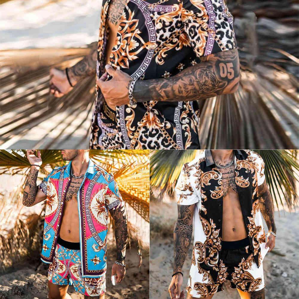 2021 Neue Mode Hawaiianische Strand Set Herren Druck Set Kurzarm Sommer Casual Floral Hemd Strand Zwei Stück Anzug Männer Sets X0601