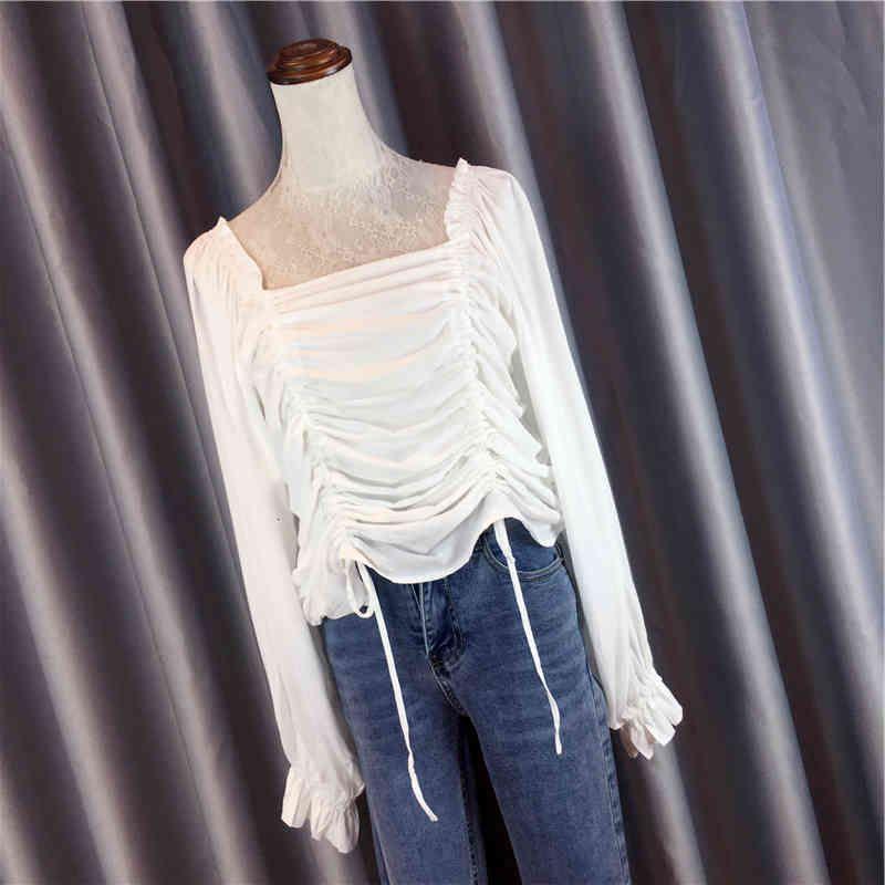 Cassette carrée Collier carré blanc manches longues de base pour Mujer Nouveau 2020 printemps automne All-match Pullovers Femmes Blouses