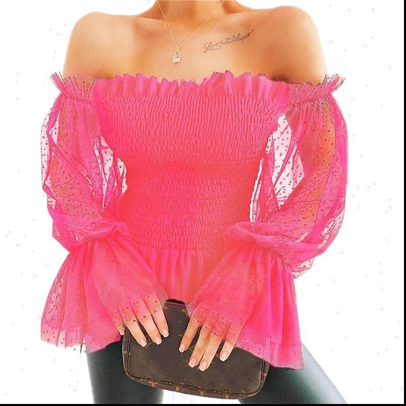 SUMEMR Dantelli Uzun Puf Kol Kadın Bluzlar Kapalı Omuz Gevşek Rahat Seksi Elastik Katı
