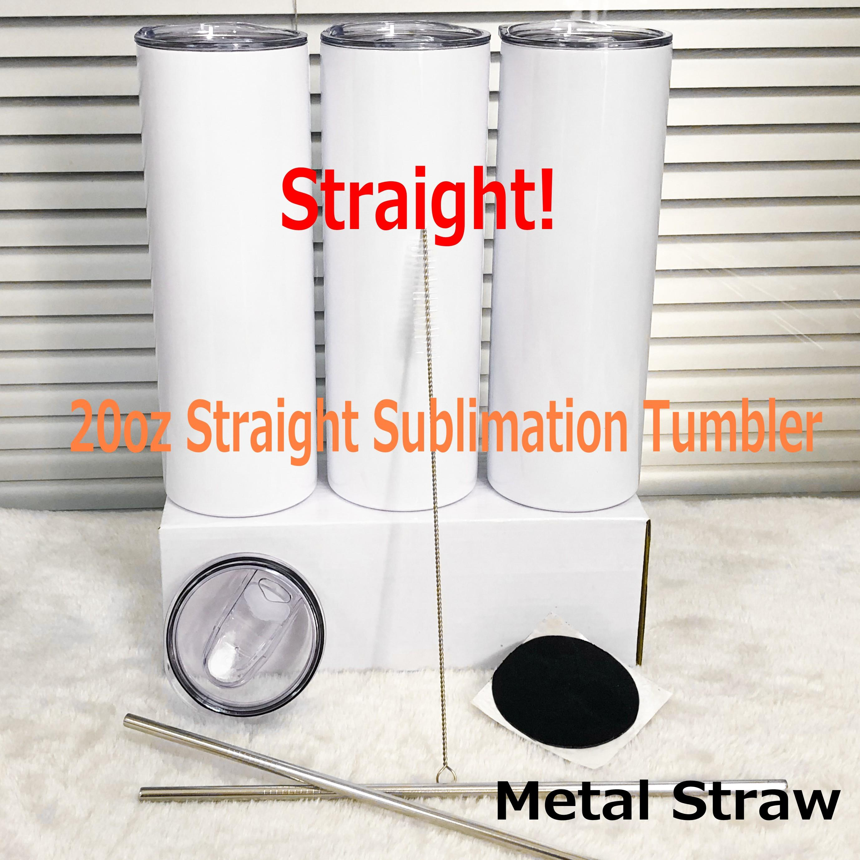 DIY sublimation Water Bottle tumblers 20oz straight tumblers metal straw stainless steel slim tumble vacuum insulated travel mug gifts