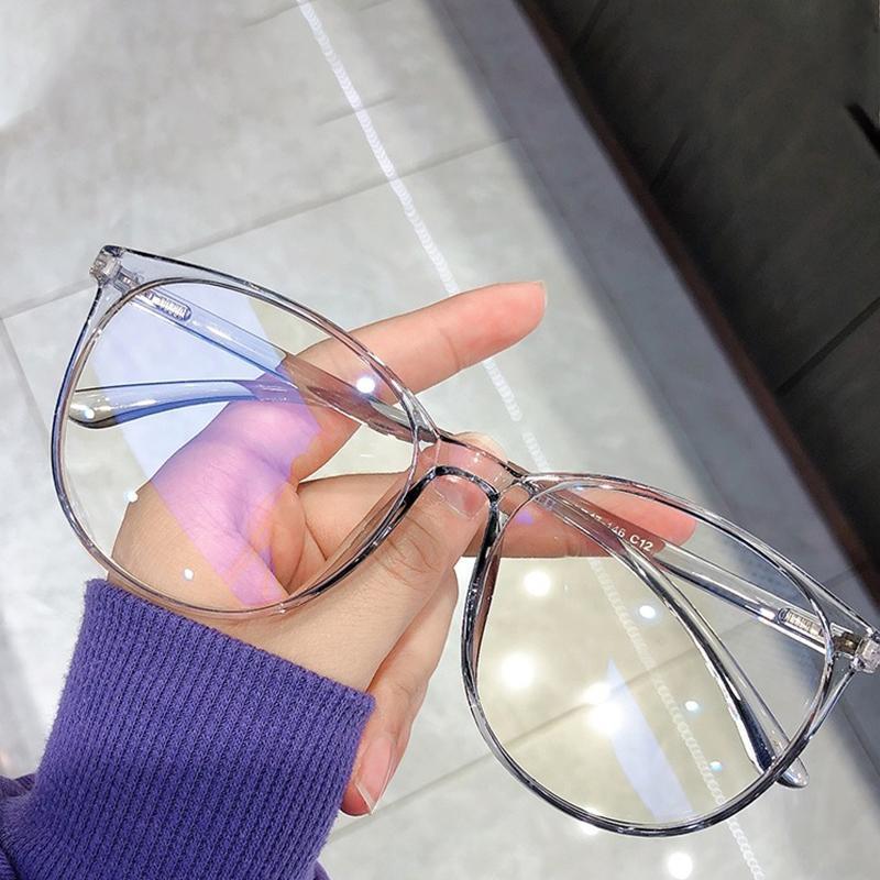 Óculos redondos do quadro Mulheres Retro Eyeglasse Quadros Azul Luz Okular Lente Clear Eyewear Gafas de Marca Moda Óculos de Sol