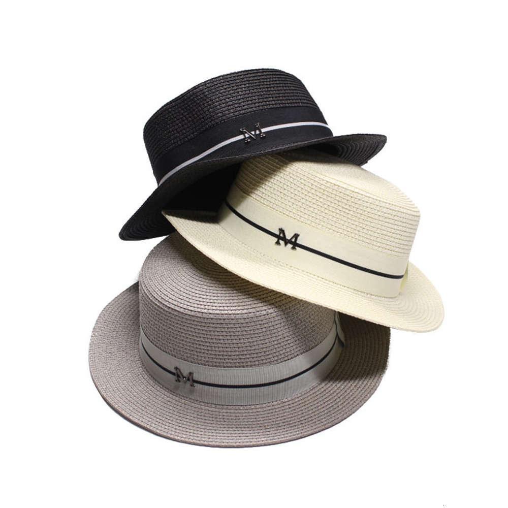 Palha simples apartamento top branco fita m standard feriado sunscreen mulheres sun hat fashion