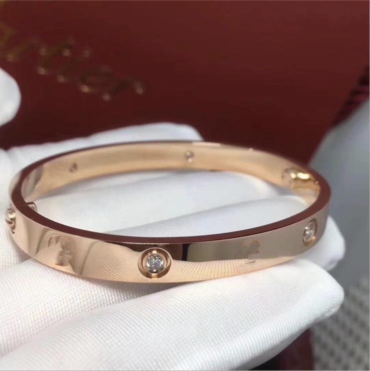 Liebe Classic CZ 316L Titan Bangles Armband Frauen und Männer Geeignet für Liebhaber Mode Armband Hochzeit Rose Gold Erntedankfest Day Schmuck Geschenk