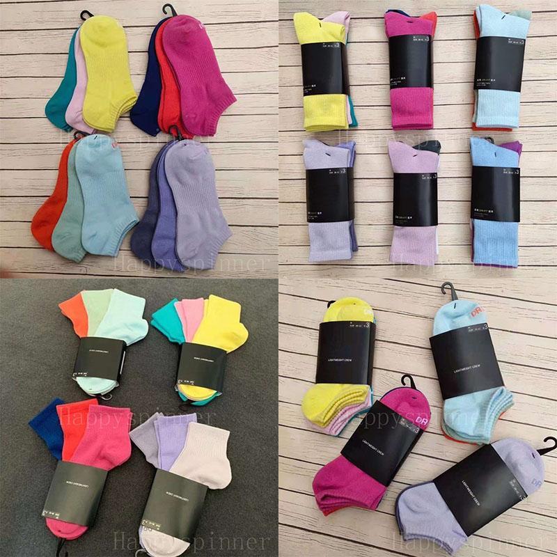 Chicas Damas Calcetines Cuatro Seasons Fashion Moda Corta Medio Longitud Larga Pure Color Color Color Color Cómodo Transpirable Running Sports 1 Tarjeta 3 pares